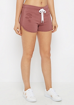 Mauve Ripped Dolphin Short