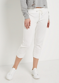 White Knit Cropped Jogger