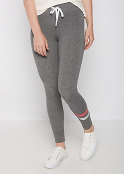 Charcoal Gray Striped Leg Jogger