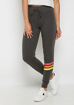 Multi Color Striped Leg Jogger