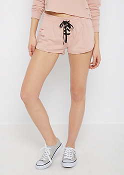 Pink Ripped Lace-Up Dolphin Short