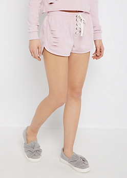 Light Purple Ripped Lace-Up Dolphin Short