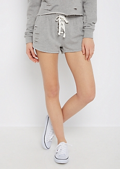 Heather Gray Ripped Lace-Up Dolphin Short