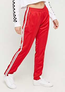 Red Athletic Striped Track Pant