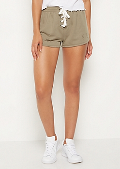 Olive Slashed Lace Up Dolphin Shorts