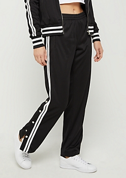 Black Athletic Striped Track Pant