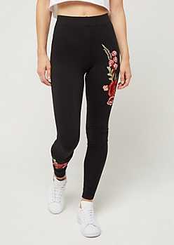Floral Embroidered High Rise Legging
