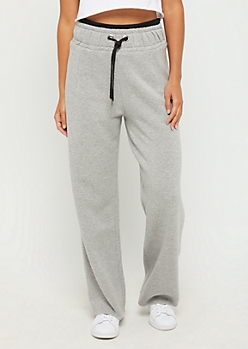 Heather Gray Layered Waist Fleece Sweatpant