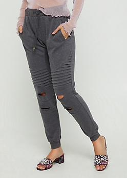 Charcoal Gray Distressed Moto Jogger