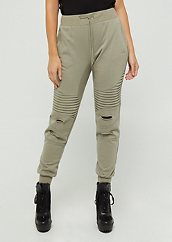 Olive Distressed Moto Joggers