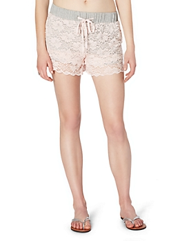 Light Pink Tiered Lace Active Short
