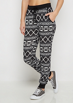 Black Aztec Knit Jogger