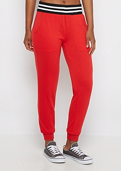 Red Soft Touch Knit Jogger