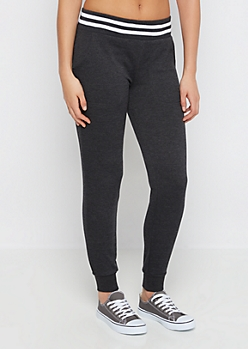 Charcoal Striped Soft Touch Knit Jogger