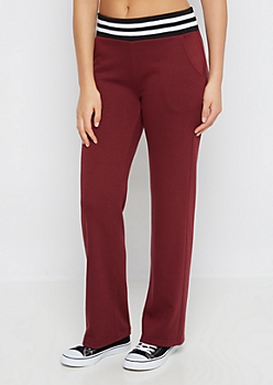 Burgundy Striped Soft Touch Knit Jogger