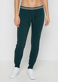 Deep Teal Striped Waist Slim Jogger