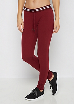 Burgundy Striped Waist Slim Jogger