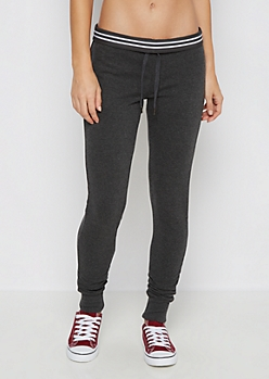 Charcoal Striped Waist Slim Jogger
