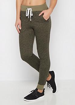 Olive Marled Soft Knit Jogger