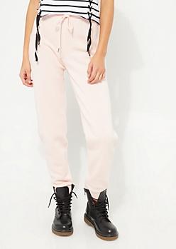 Pink Stripe Fleece Joggers