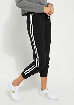 Black Athletic Stripe High Waist Joggers