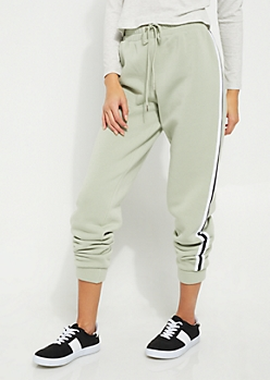 Green Athletic Stripe High Waist Joggers
