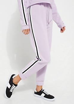 Light Purple Athletic Stripe High Waist Joggers