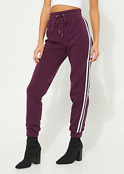 Dark Purple Athletic Stripe High Waist Joggers