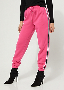 Pink Athletic Stripe High Waist Joggers