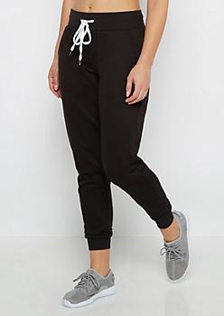Black Soft Knit Fleece Jogger