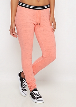 Neon Orange Marled Soft Knit Slim Jogger