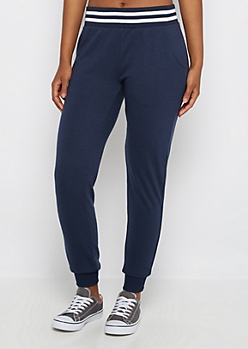 Navy Striped Soft Touch Knit Jogger