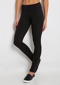 Black Wide Waist Soft Knit Legging