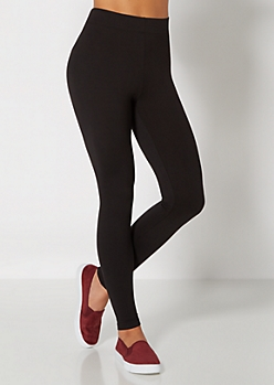 Brushed Solid Black Legging