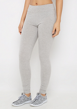 Heather Gray Wide Waist Jersey Legging