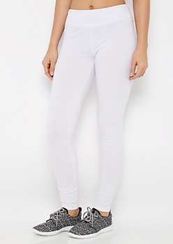 White Wide Waist Jersey Legging