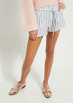 Blue & White Striped Tie Front Shorts