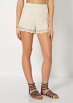 Cream Daisy Crochet Smocked Short