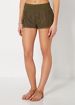 Olive Green Daisy Crochet Short