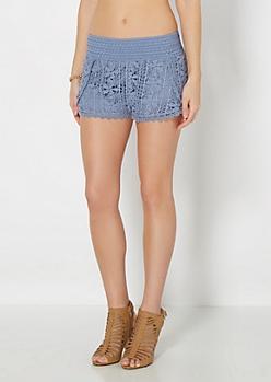 Light Blue Daisy Crochet Short