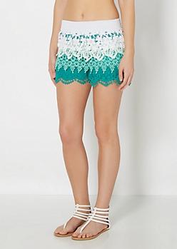 Green Ombre Tiered Crochet Short