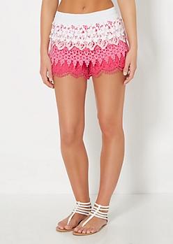 Pink Ombre Tiered Crochet Short
