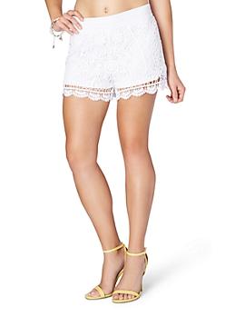 White Floral Crochet Short