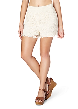 Ivory Floral Crochet Short