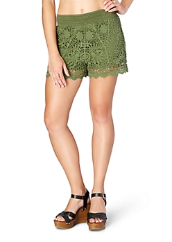 Dark Olive Floral Crochet Short