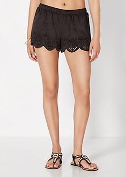 Black Scalloped Microsuede Short
