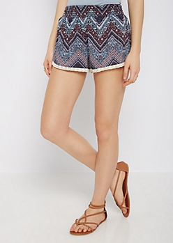 Chevron Folklore Smocked Short