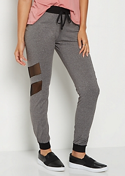 Gray Mesh Double Striped Jogger