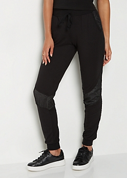 Black Mesh Stripe Jogger