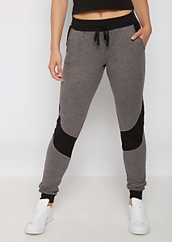 Heather Gray Mesh Stripe Jogger
